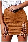 Meyeeka Sexy Black Lace Up Cutout Bodycon Cocktail Party Skirt for Women Khaki L