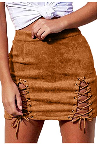 Meyeeka Woman's Vintage Criss Cross High Waist Party Evening Mini Skirt Khaki M