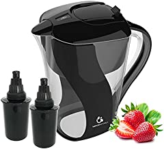 Naples Naturals - AOK109-BLK-02 109X2 Alkaline Water Pitcher - Removes Chlorine and Contaminants Plus Increases pH (Black), Model 109 (with Extra Filter)