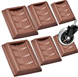 Bed Stopper & Furniture Stopper Cups,YUESUO Stopper Cups for All Wheels of Furniture, Premium Silicone Rubber Caster Cups,Can Prevent The Floor from Scratching & Wheeled Furniture Slides. 6PACK(Brown)