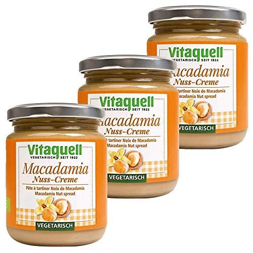 Vitaquell 3 x Macadamia-Nuss-Creme Bio - vegetarisch süßer Brotaufstrich