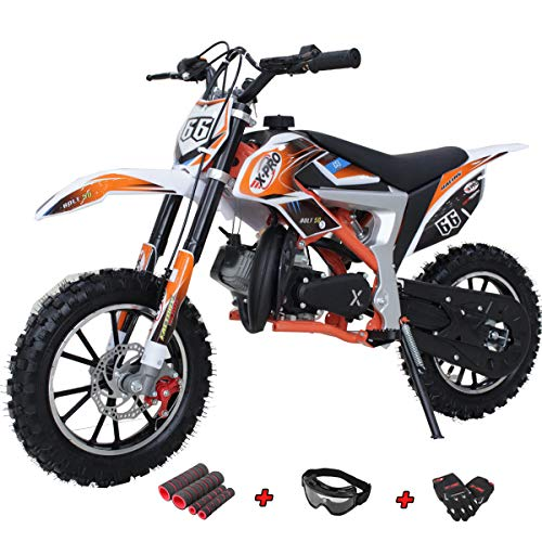 X-PRO Bolt 50cc Dirt Bike Gas Dirt Bike Kids Dirt Bikes Pit Bikes Youth Dirt Pitbike with Gloves, Goggle and Handgrip, Orange