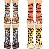 Animal Print Paw Crew Socks 4 Pair Novelty 3D Socks Dinosaur Tiger Leopard Cat Paw Socks for Women Boys Girls Kids