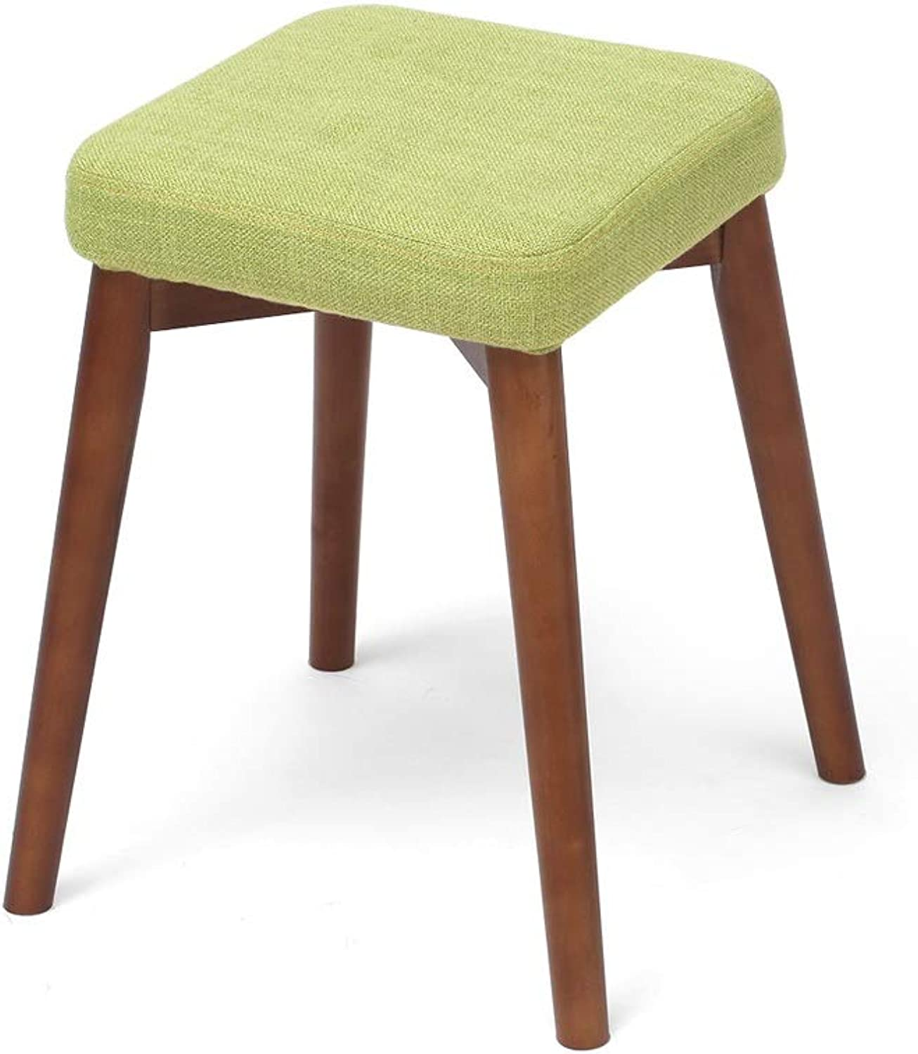 Solid Wood Stool, Kitchen Dining Chair Change shoes Stool with Green Cushion Square Bench Dark Wooden Footstool (color   Walnut)