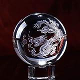 HDCRYSTALGIFTS 3D talla dragón chino bola de cristal loong pantalla pisapapeles con soporte de cristal, 60 mm