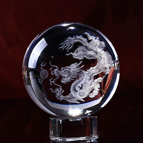 HDCRYSTALGIFTS 3D Carving Chinese dragon Crystal Ball Glass Loong Display Paperweight with Free Glass Stand,2.4inch(60mm)