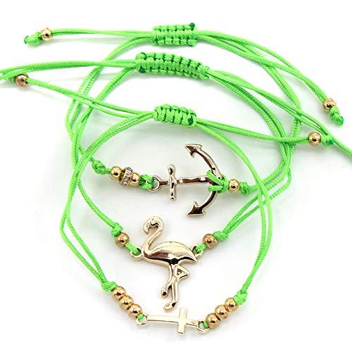 Musthaves Damesarmbanden met flamingo, anker en kruis - set van 3 stuks - lengte instelbaar