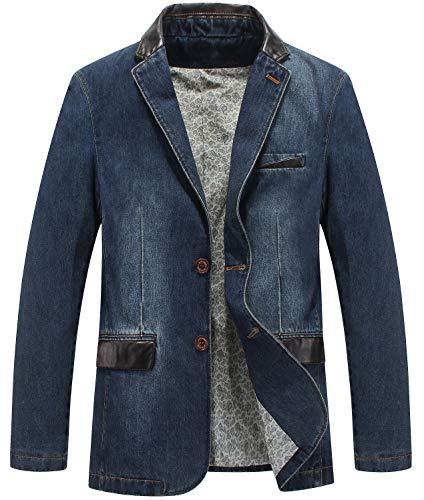 TMHOO Mode Trend Herrenbekleidung Frühling Herbst Geschäft Freizeit Denim Anzugjacke Herren Groß Größe Lose Jeanssakko Blazer Jacke Men Cowboy Suit Jacket Coats (XX-Large, 3158-blau)