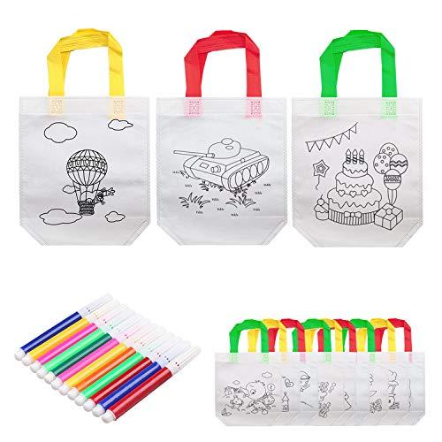 Reastar Kinder Stoffbeutel Set 12 stück DIY Graffiti Taschen Non-Woven-Tasche Tasche zum bemalen mit 12 Kreidemarker Buntstift - Ideal für Geburtstagsfeier Geschenke, Schulen, Kindergarten und Feiern
