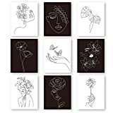 Outus 9 Sets Aesthetic Wall Art Abstract Minimalist Line Black White Prints Art Posters Female Face with Flower Art Drawing Paintings for Wall Decor, 8 x 10 inch