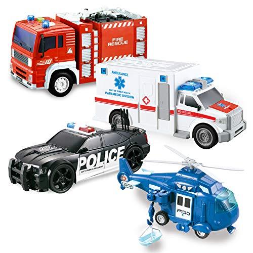 JOYIN 4er Pack Reibungsgetriebenes City Hero Spielzeug mit Feuerwehrauto, Krankenwagen, Polizeiauto und Hubschrauber-Einsatzfahrzeugen mit Licht und Ton, Geschenk für Kinder Jungen