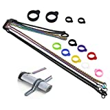 CENGLORY 2PCS Anti-Lost Metal Necklace Lanyard Pendant,12pcs Silicone Bands Rubber Rings+2pcs Lanyard Accessory, for 10-30mm Daily Life, Office (Keel Chain)