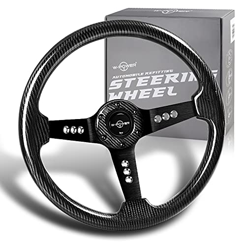 W-Power, 13.5' Universal 343mm 6 Bolt Hole 3-Inche Deep Dish Real Carbon Fiber with Aluminum Polished Grip Steering Wheel, Black Horn Button JDM Euro VIP Style, Black 3-Spoke