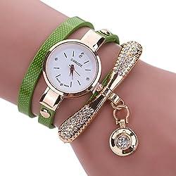 Green Leather Rhinestone Analog Quartz Wrist Watch