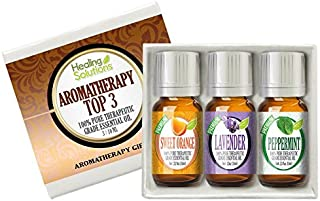 Aromatherapy Top 3 Gift Set 100% Pure Therapeutic Grade Essential Oil Gift Set - 3/10 mL (Sweet Orange, French Lavender, Peppermint Pharma Grade)