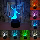 RUMOCOVO® Slam Dunk Jouer Au Basket-ball 3D LED Nuit Lumière 7 Couleurs Sport 3D Veilleuse Maison Chambre Décoration Enfant Noël Décor Cadeaux