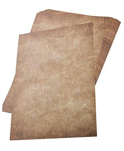 Briefpapier im alten Vintage Stil als Set - 50 Blatt - Din A4 - bedruckbar, beschreibbar, perfekt für Einladungen, Tischkarten, Urkunden, Speisekarten, Schatzkarte für Kinder, Kindergeburtstag