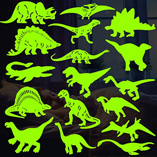 26PCS Dinosaurs Luminous Wall Stickers, 3D Glow in Dark Dinosaurs Wall Decorative, Dark Stickers, Dinosaur Decorations for Boys Room