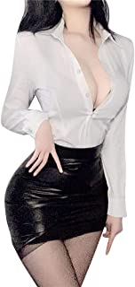 Wraith of East Sexy Women's Secretary Costume Office Lady Uniform Deep V Neck White Top Mini Bodycon Skirt with Glasses Su...