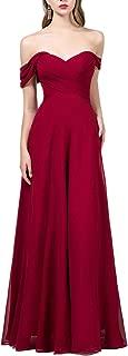 OYISHA Womens Off The Shoulder Chiffon Bridesmaid Long Evening Dress Formal BD131