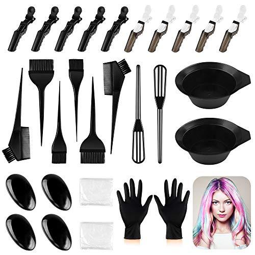 Haarfarbe Werkzeug 30 Teile Professionelle Haar Färben Färbung Set mit Haarfärbepinsel Haarspangen Handschuh Färbeschale Ohrbedeckung Mischspatel für DIY Salon