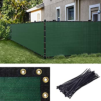 Amgo 6  x 50  Green Fence Privacy Screen Windscreen,with Bindings & Grommets Heavy Duty for Commercial and Residential 90% Blockage Cable Zip Ties Included  Available for Custom Sizes