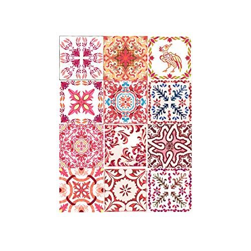 Walplus Autocollant Mural Amovible Art Décalques Vinyle Maison Décoration DIY Vivant Chambre Cuisine Papier Peint Cadeau Marocain Rouge Rose Mosaïque Tuile - 15 cm X 15 - 24 Pièces - Rouge