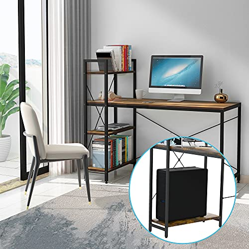 ASTARTH Computer Desk with 4 Tier Shelves, Home Office Desks with Storage 47 Inch Study Table, Small Desk for Small Spaces, Independent Bookcase and Desk for Multiple Scenes, Easy Assembly