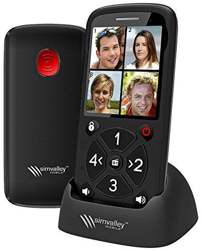 simvalley communications Seniorenhandy 5 Tasten: 5-Tasten-Senioren-Handy mit Garantruf Premium, Radio & Ladestation (Notruftelefon)