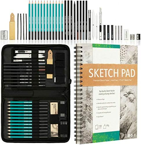 PiggiesC XXL Drawing Set - Sketching 100 Charcoal P and Max 42% OFF Pencils. Selling rankings