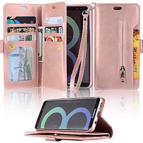 LAPOPNUT - Funda para Samsung Galaxy A10 y M10 (piel, función atril, tarjetero, función atril, función atril), color oro rosa