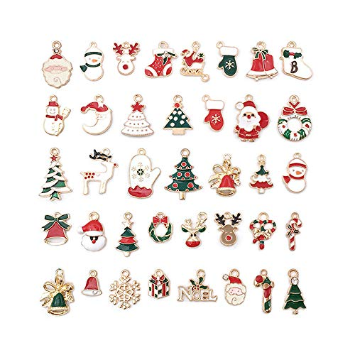 38pcs Christmas Charms Enamels Pendants Beads for Jewelry Making DIY Craft Necklace Bracelet Making Earring Accessories Decoration