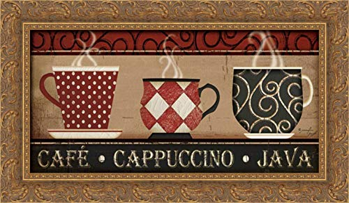 Pugh, Jennifer 24x13 Gold Ornate Framed Canvas Art Print Titled: Cappuccino Cafe