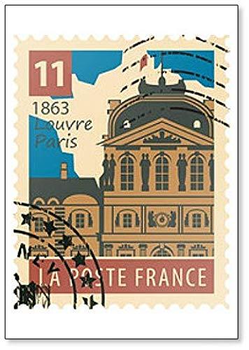 Stempel met het beeld van het Louvre van Parijs - Klassieke koelkastmagneet