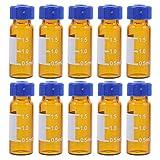 Scicalife 100 Unidades de Frascos de Vidrio Transparente con Escala Botellas de Muestra Graduadas Recargables Vacías con Tapón de Rosca Azul para Laboratorio Escuela Hospital Educativo 2Ml