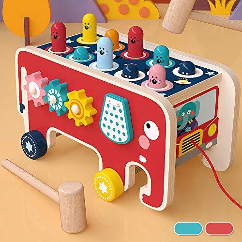 Beenle-Icey Juguetes de madera del martillo para 1 2 3 años, multicolor, de madera, para niños pequeños y bebés, forma de elefante, juguetes de la primera infancia, regalo (juego de números)