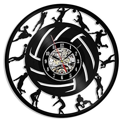 qweqweq Retro Vinyl Record Wall Clock Modern Design Volleyball 3D Decoration Wall Watch Wall Clock Home Decoration