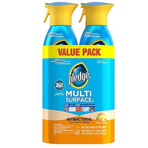 Pledge Multi Surface Antibacterial Cleaner Antibacterial Citrus Scent Spray 9.7 Oz (2 Pack)