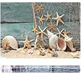 Efecto 3D Fondo de Acuario Fish Tank Decoraciones Imágenes PVC Adhesivo Poster Seashell Starfish Poster Telón de Fondo Decoración(61 * 41cm)