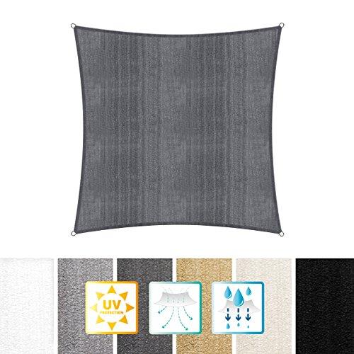 Lumaland Sonnensegel inkl. Befestigungsseile, 100% HDPE mit Stabilisator für UV Schutz, Quadrat 5 x 5 Meter dunkelgrau