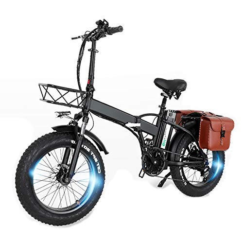 GW20 20 pollici Mountain bike portatile, 750W E-bike pieghevole, Fat Bike da neve a 7 velocità, Batteria da 48V ad alta capacità (24Ah borsa + 1 batteria ricambio)
