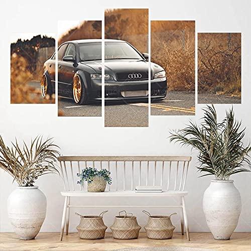 CCAR XXL Leinwanddruck Bilder Klassischer Sportwagen Audi A4 B6 Auto leinwand 5 teilig Leinwandbilder 150x80cm 5 TLG abstrakt Wandbilder Wanddekoration Design für Küche...
