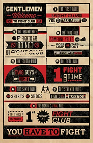 """Theissen Fight Club Rules Infographic Multi-Colour – Poster Frameless Gift 11 x 17"""" (28 x 43 cm)*IT-00287"""