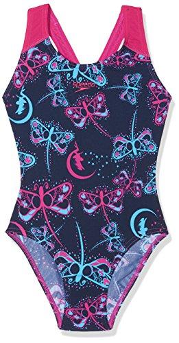 Speedo Speedo Mädchen flashfly Allover Splashback Badeanzug, Mädchen, Flashfly Allover Splashback, Marineblau/blau, 38