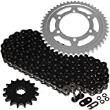 Caltric compatible with Black O-Ring Drive Chain and Sprockets Kit Yamaha R6 YZF-R6 2003 2004 2005
