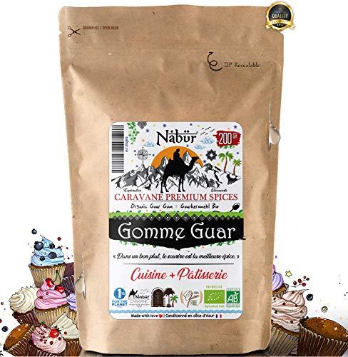 Nabür - Gomme Guar Bio 200 Gr ⭐ Epaississant pour préparation chaude ou froide, Cuisine Pâtisserie ⭐ OFFRE LANCEMENT