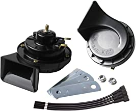 FARBIN Waterproof Auto Horn 12V Car Trumpet Loud Dual-Tone Electric Snail Horn Kit Universal for Any 12V Vehicles Black