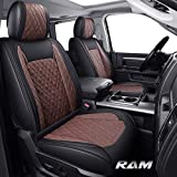 Yiertai Car Seat Covers Full Set Dodge Ram Custom Fit 2009-2021 1500 2010-2021 2500 3500 Pickup Truck Crew Double Cab Waterproof Leather Compatible with Split Bench 40/60(Full Set, Black-Brown)