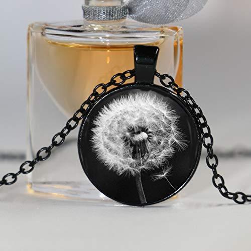 Collar con colgante de diente de león con diseño de flores blancas y negras hechas a mano de...