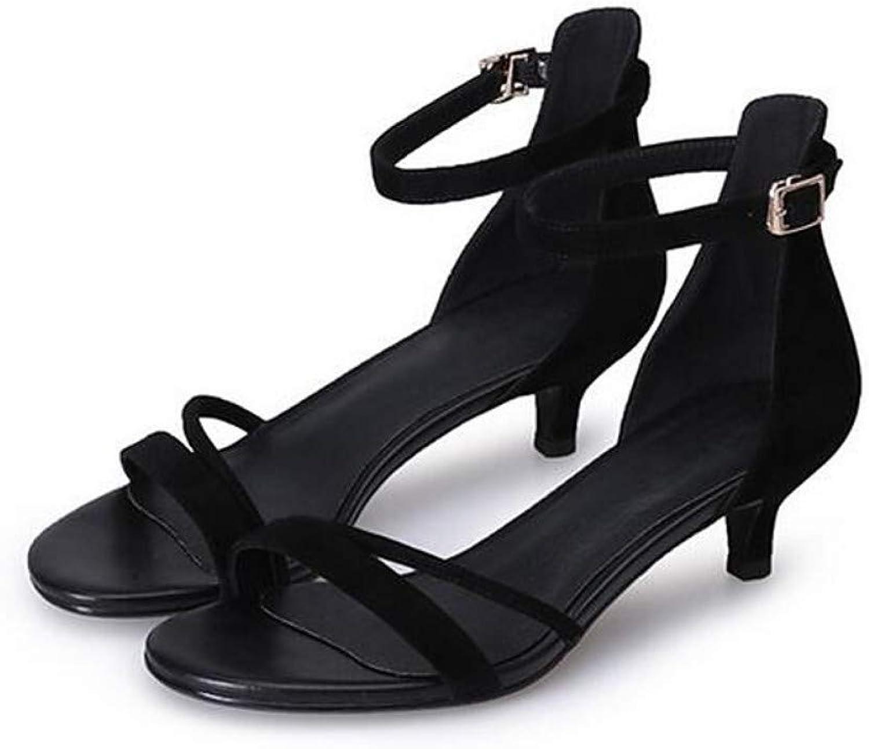 IWlxz Women's Suede Summer Comfort Sandals Low Heel Black Pink